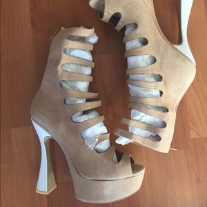 New Jeffrey Campbell caged suede sandals shoes